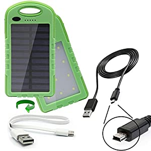 portable waterproof solar power bank charger with dual USB 2 Amp charge ports and a 22Wh battery capacity designed for the Mio MiVue 358 / 388