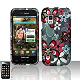 Pink White Flower Blue Daisy Design Rubberized Snap on Hard Cover Protector Faceplate Cell Phone Case for Verizon Samsung Fascinate i500 Galaxy S + LCD Screen Guard Film (Free iTuffy Flannel Bag) ~ Handheldfashion