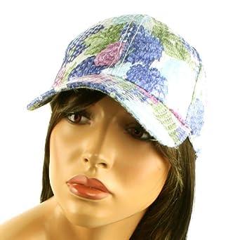 Ladies Cool Floral Shiny Shimmer Sequins Baseball Ball Cap Hat Adjustable Blue