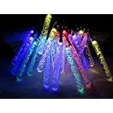 M&T TECH Solar Powered Outdoor String Fairy Lights 5M 20 Multi Color Icicle For Garden Patio Porch Lawn Party Wedding Christmas