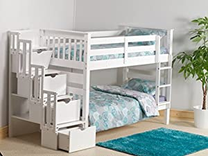Mission Staircase Storage Single Bunk Bed In White Pine