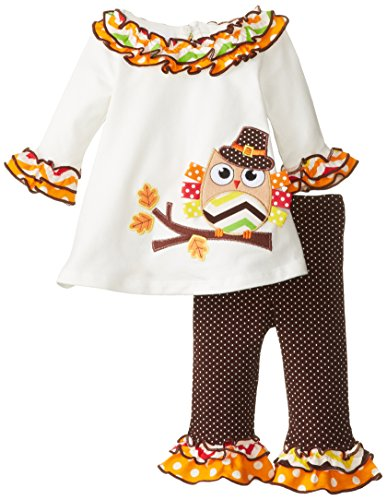 Bonnie Baby Baby-Girls Newborn Pilgrim Owl Appliqued Legging Set, Ivory, 3-6 Months front-927368