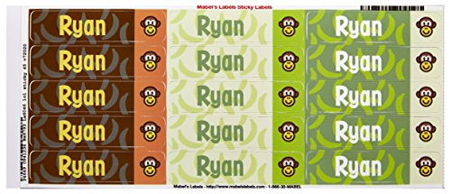Mabel'S Labels 40845093 Peel And Stick Personalized Labels With The Name Ryan And Monkey Icon, 45-Count front-789545