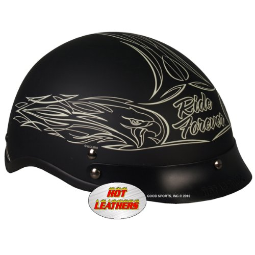 Hot Leathers DOT Approved Pinstripe Eagle Helmet (Black, Medium)