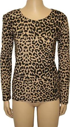 New Ladies Animal Print Stretch Long Sleeve Tiger Womens T