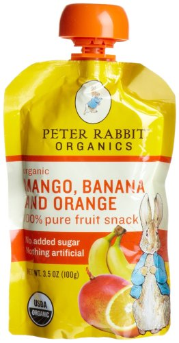 Peter Rabbit Organics, Organic Mango, Banana and Orange 100% Pure Fruit Snack, 3.5-Ounce Pouches (Pack of 10)