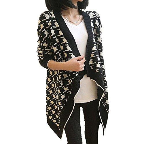 Youseft Women's Houndstooth Pattern Irregular Asymmetric Long Sleeve Cardigan White Popular Style (Yakima Wa Stores)