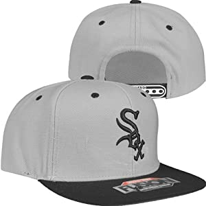 Chicago White Sox Back to Front Fusion Snapback Hat (Gray Black) by American Needle