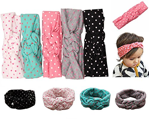 Mookiraer® Baby Girl Newest Round Dot Turban Headband Head Wrap Knotted Hair Band (5 Pack) (min01) (Shower Head 45cm compare prices)