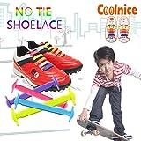 Coolnice 結ばない靴ひも 防水シリコン製シューレース 子供用 カラフル靴紐 スポーツ 運動 オシャレ 快適12pcs 虹色