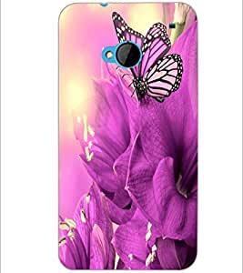 PrintDhaba Butterfly D-2127 Back Case Cover for HTC ONE M7 (Multi-Coloured)