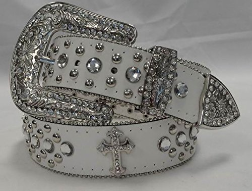Deal Fashionista WHITE CROSS Concho Western Rhinestone Removable Buckle Belt