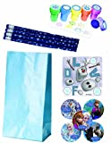 Frozen Birthday Party Deluxe Favor Pack for 12 - 12 Make Your Own Olaf Stickers, 12 Snowflake Pencils, 12 Snowflake Stampers, 15 Frozen Character Stickers, and 12 Light Blue Treat Bags!