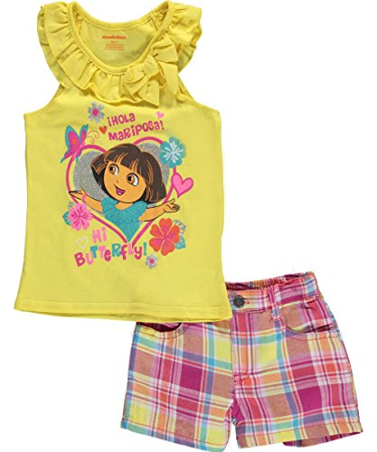 "Dora the Explorer Little Girls' ""Hi Butterfly!"" 2-Piece Outfit"