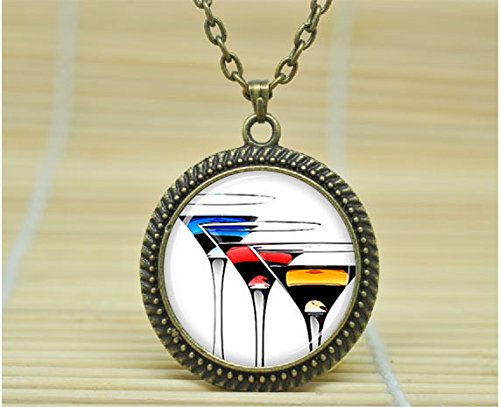 Fashion Jewelry Wine Glasses Pendant Wine Glasses Necklace Wine Glasses Jewelry Glass Cabochon Necklace A1057