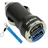 GTMax Black 2-Port USB Car Charger + Blue Wrist Strap Lanyard For Samsung GALAXY S2 / SII I9100,Ace S5830;HTC Sensation 4G,Radar Rhyme ;Motorola DROID RAZR XT912 /HD;Garmin nuvi 1300,1350,1450,1695,2300