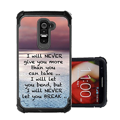 LG G2 Case For Girls [CorpCase] - Bible Verse Christian Quote I Will Never Give You More Than You Can Take - Girly Cool Trendy Cover Skin with Protective Hybrid Armor Hard Defender Case Made of HIGH GRADE PLASTIC & Silicone Rubber [Fits G2 AT&T D800, T-Mobile D801, Verizon VS980 ] (Lg G2 Quote Case compare prices)