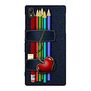 Stylish Denim Pencil Print Back Case Cover for Sony Xperia Z1