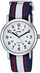 Timex Unisex TW2P685009J Weekender Varsity Row Analog Display Quartz Blue Watch