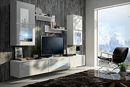 ZOE Moderno Juego De Muebles de salón (Blanco MAT base / Blanco AB frente, Blanco LED)