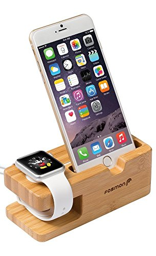 Apple Watch Station de Charge - Fosmon [Charge Quai] Station chargeur de bureau supporter Stand for Apple Watch (38mm & 42mm) (bambou)