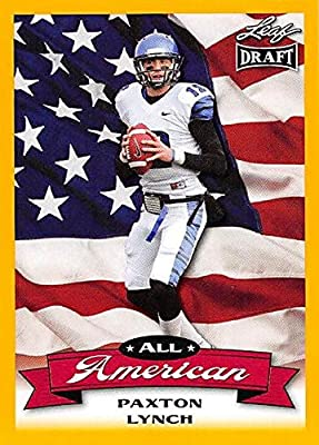 Paxton Lynch Football Card (Memphis, Denver Broncos) 2016 Leaf Draft All American Gold #AA-10 Rookie
