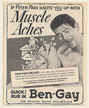 1951 Peter Pain Muscle Aches Ben-Gay Print Ad (Memorabilia) (49850)