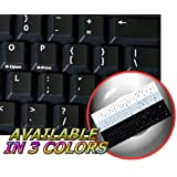 REPLACEMENT ENGLISH US KEYBOARD STICKERS ON BLACK BACKGROUND