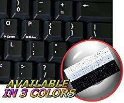 REPLACEMENT ENGLISH US KEYBOARD STICKERS BLACK BACKGROUND