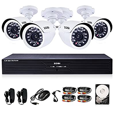 ZOSI 4CH Full D1 960H Recording Home CCTV DVR with 4PCS HD 700TVL 24IR IP66 Day&Night Color CMOS Cameras 65ft Night Vision Surveillance Smart Security Kit with 1TB HDD