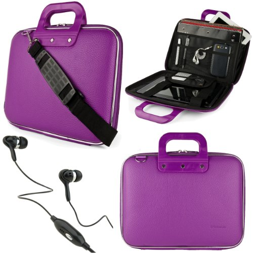 "Purple SumacLife Cady Bag Case w/ Shoulder Strap for Supersonic 9"" Tablet + Black VanGoddy Headphones from Electronic-Readers.com"