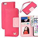 iphone 6 case,By HiLDA,Wallet Case,PU Leather Case,Credit Card Holder,Flip Cover Skin[Rose]