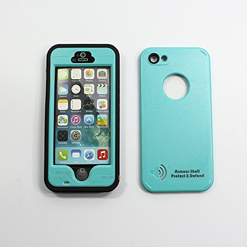 Iphone 5S Waterproof Cell Protective Case, Best Mobile Hard Skin Protection Covers, Compare To Lifeproof Defender Cases Cover For Apple, Att, Verizon Wireless, Virgin & Sprint Phones. Buy Now To Protect & Defend Your Investment! (Teal)
