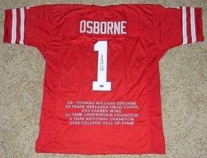 Autographed Tom Osborne Jersey - Huskers #1 Stat Coa - Autographed College Jerseys