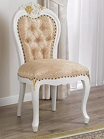 Poltrona sedia stile Barocco Decapé avorio particolari foglia oro tessuto damascato avorio oro bottoni Swarovski