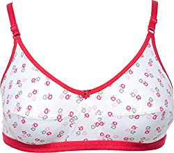 KingsBeuty Women's Underwire Full Cup Bra (3, White and Red, 36)