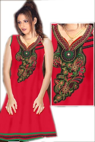 Indian Traditional Embroidered Work Designer Silk Cotton / Top / Tunic / Dress for Ladies