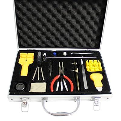 KurtzyTM 21 Piece Watch Tool Kit Repair Set in Metal Case Pin Battery Remover Replacing Set