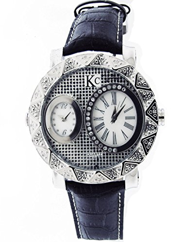 Techno Com By Kc 50Mm 12 Diamonds Two Time Zone Watch White M-O-P Face