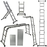 ARKSEN 12.5FT Aluminum Ladder EN131 Platform Multi-Purpose extension Folding Multi-Task Light Weight (w/ 2 FREE Plate)