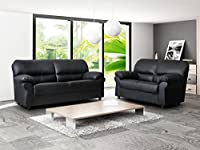 Candy 3+2 Faux Leather Sofa Suite In Black