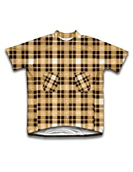 Yellow Plaid Shirt Short Sleeve Cycling Jersey for Women