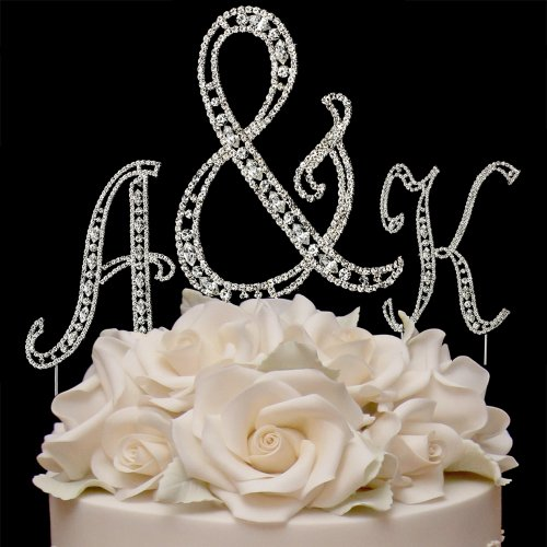 Raebella Weddings Silver Vintage Style Swarovski Crystal Monogram Initial Wedding Cake Topper 3Pc Letter Set + White Metal Love Design Small Photo Frame front-1006589