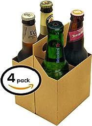 4 Pack Beer Carrier, Box Holds 4 Regular 12oz Beer Bottles or Cans, Durable Cardboard Tote, Moisture Resistant (Pack of 4), USA made