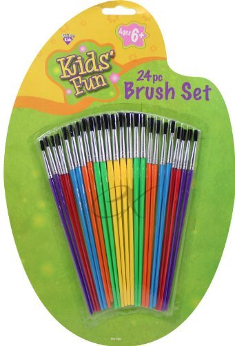 Kids' Fun Brush Set 24 PC Use for All Paints Ages 6 to Adult - 1
