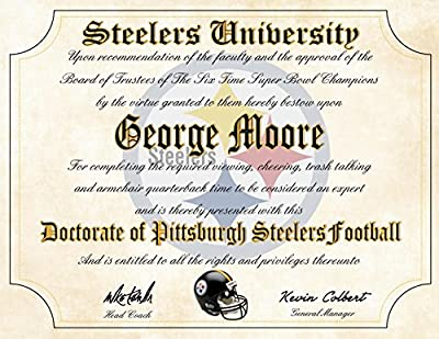 "Pittsburgh Steelers Ultimate Fan Personalized Diploma - Perfect Gift - 8.5"" x 11"" Parchment Paper"