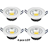 LED Spot/Down Light, 5 Watt, Set Of 4 Pcs, Round Style, Warm White 3000k, White Powder Coated, SUPER BRIGHT, Aluminium...