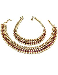 Glittering World Designer Purple Stone And Pearl Alloy Crystal Anklets For Women