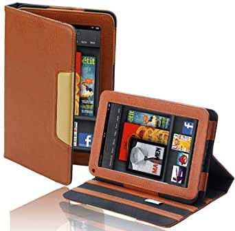 splash SIGNATURE Folio Leather Case Cover Fits the Amazon Kindle FIRE Tablet with Stand (BROWN)