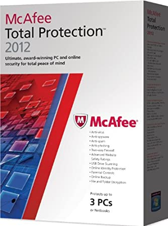 McAfee Total Protection 2012, 3 PC's, 12 month Subscription, Upgrade version from previous 2011 versions (PC)